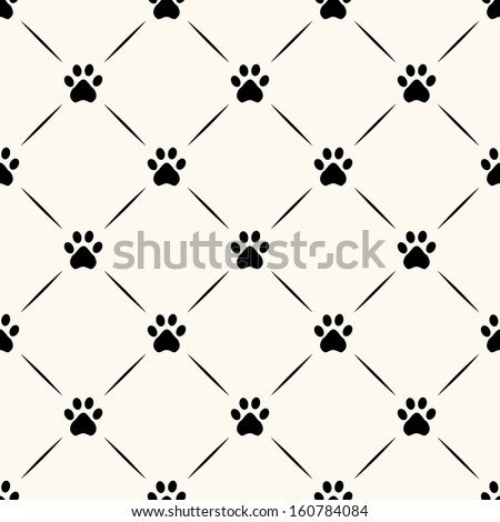 seamless animal pattern of paw