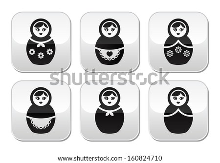 russian doll  vector buttons set