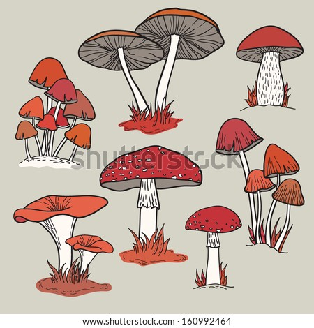 vector set with mushrooms