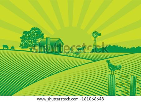 organic farming silhouette in