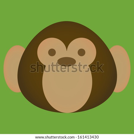 vector cartoon cute monkey face