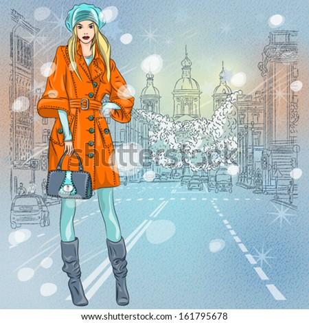 vector christmas winter urban