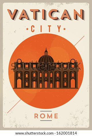 retro vatican city poster