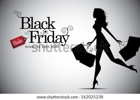 elegant shopping woman black