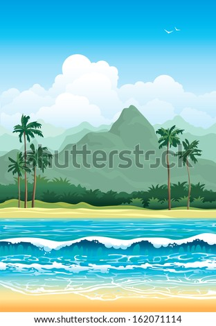 tropical landscape with palms