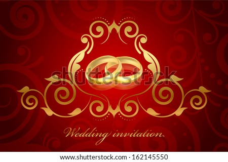 vector red and gold wedding