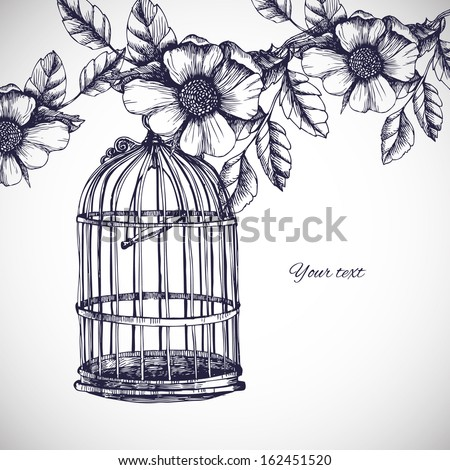vintage romantic card with cage