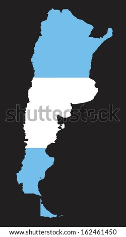 map and flag of argentina on
