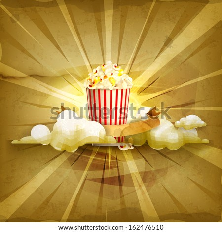 popcorn  old style vector