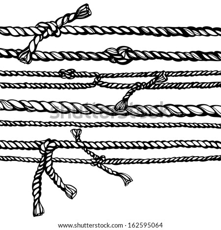 black and white ropes hand