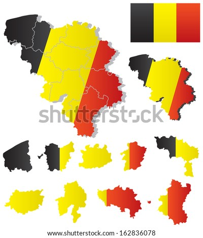 vector belgium map with flag