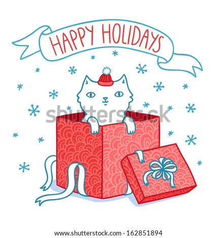 christmas card with cat in a