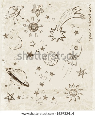 sketches of space objects  the