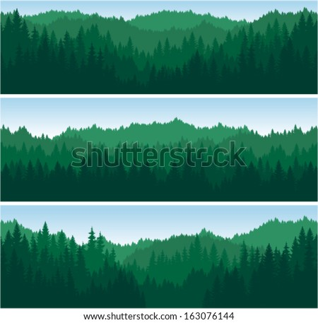 set of vector mountains forest