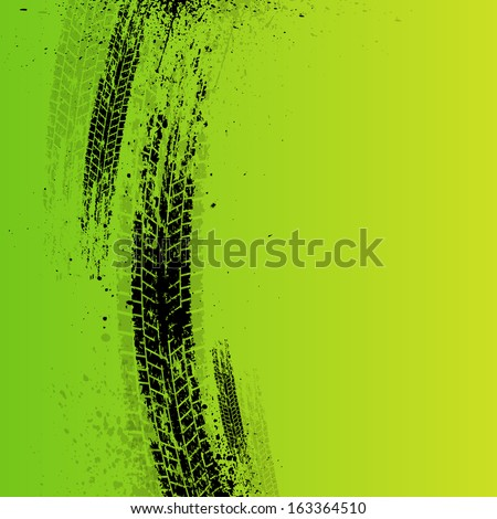 green tire track background