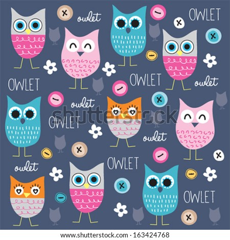 cute and funny owl pattern with