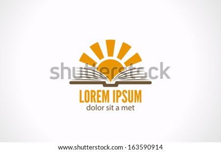 sun over open book vector logo