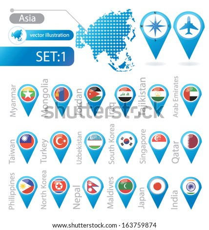 asia flag pointer vector