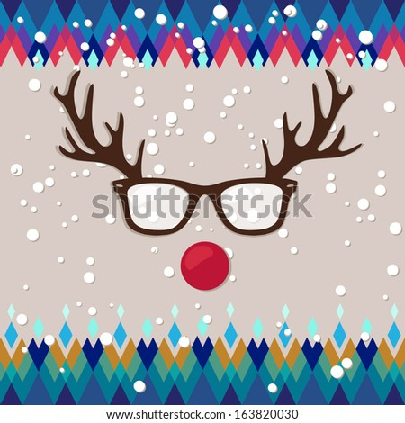 hipster card for winter holidays