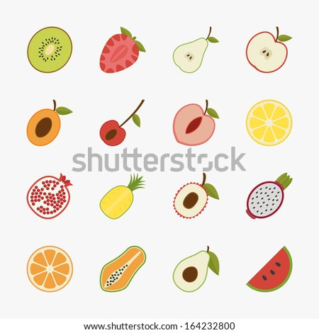 fruit icons with white