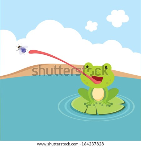 little frog catching fly