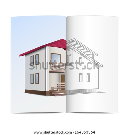 vector house sketch