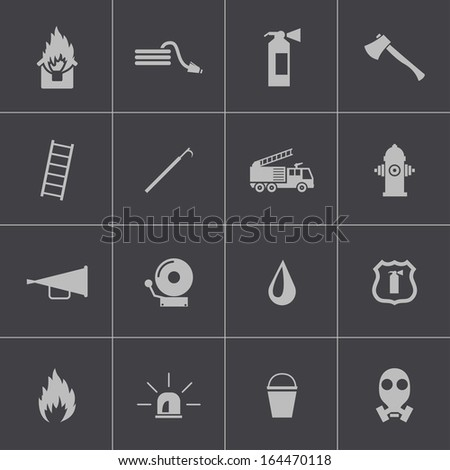 vector black  firefighter icons