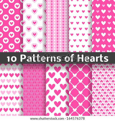 10 heart shape vector seamless