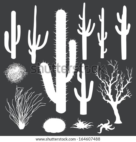 vector set of white silhouettes