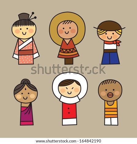vector nationalities  set of 6