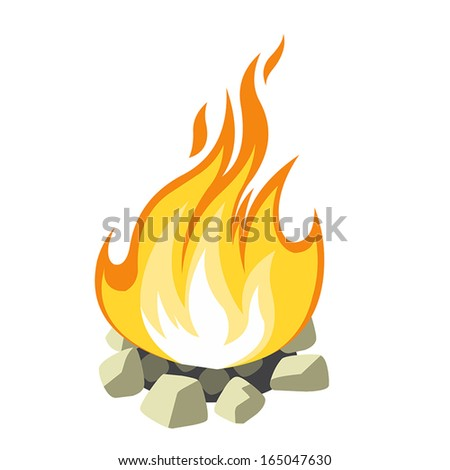 campfire isolated on white