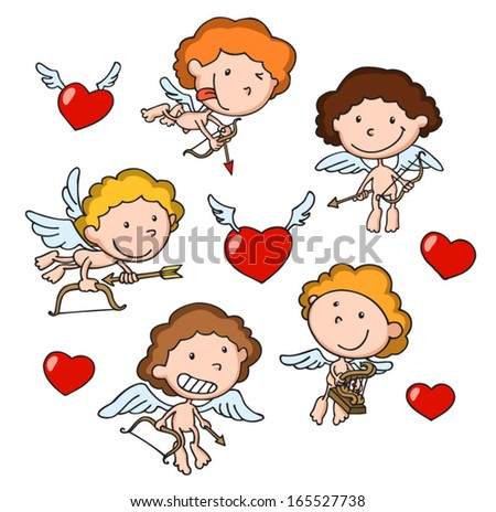 group of cute cupids with harp