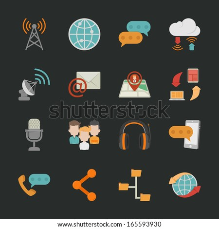 communication icons with black