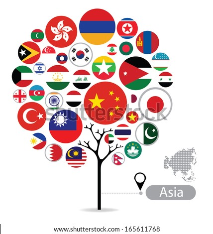 tree design flag of asia
