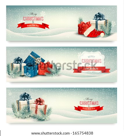 christmas winter banners with