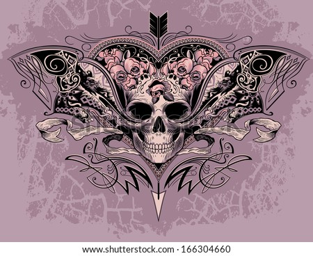 skull heart on a dusty mauve