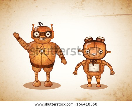 hipster friendly robots vector