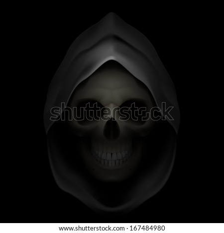 skull in black hood as image of
