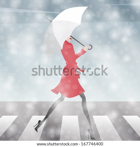 girl crossing the street in the