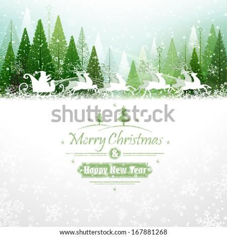 santa claus rides in a reindeer