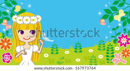 little girl with bird in spring