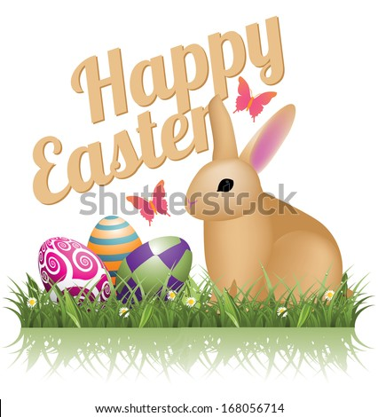 happy easter bunny and eggs in