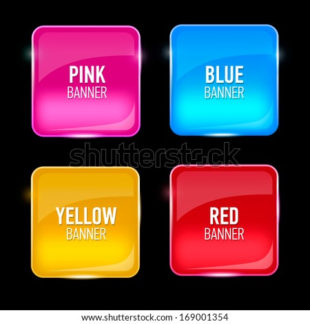 set of glass yellow  red  pink