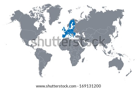 world map with the indication