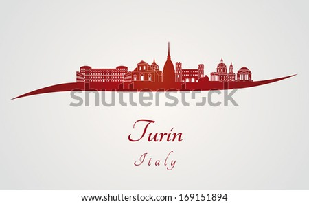 turin skyline in red and gray