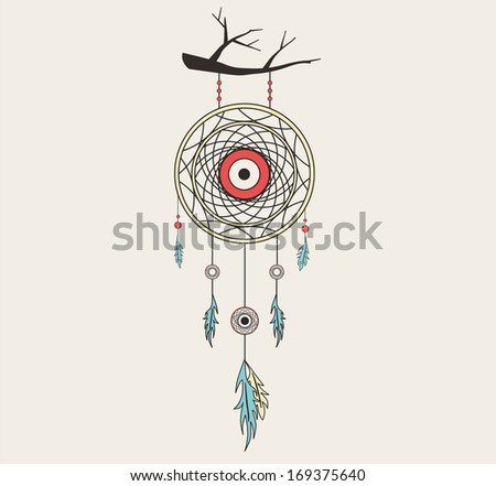 vector dream catcher flat style