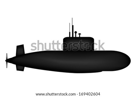 military submarine on white