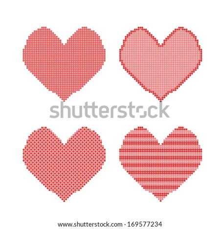 four hearts made from dots