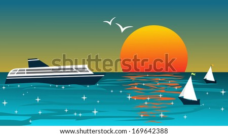 background with ships at sunset