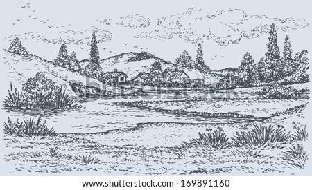 vector landscape sketch